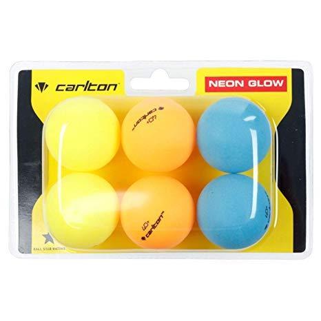 Carlton001 Outdoor Tischtennisbälle Hi-Vis Outdoor Ping Pong Bälle x6 Pack hohe Sichtbarkeit Hi-Viz Neon Glow Wind Resistent Heavy Weather Resisitant Slow Spin Starter Tischtennis-Zubehör (Neon Glow)