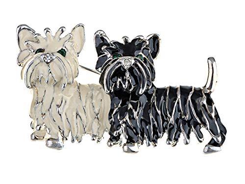 Alilang niedlich schwarz-weiß Shih Tzu Terrier Hund Welpe Love Emaille Cartoon Furry Tier Brosche -