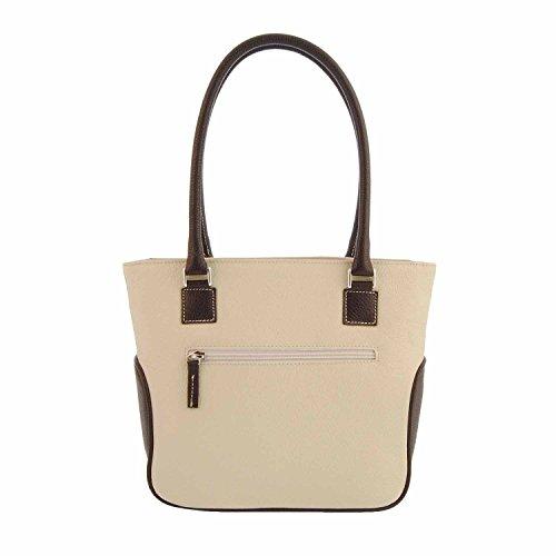Stile borsa in pelle di shopping con due manici HIELO/MARRON