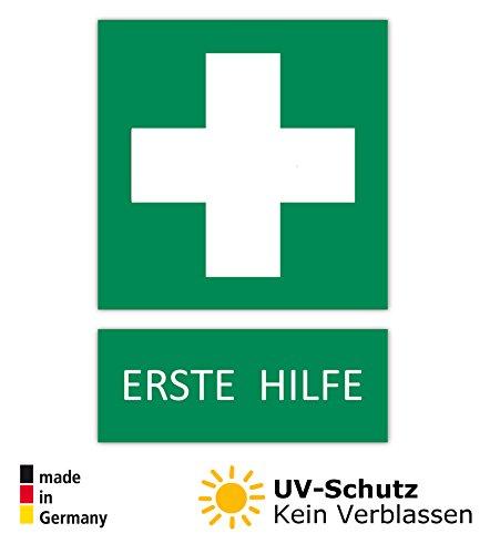 5 Aufkleber Erste Hilfe Schild Zeichen (wetterfest), 10,5 x 14,8 cm, Verbandskasten, Grünes Kreuz Hinweisschild, Rettungszeichen