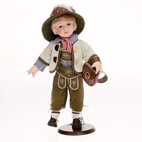 Sammlerpuppe, Porzellanpuppe, Trachtenpuppe Tracht Puppe Junge mit Lederhose 42cm 119695