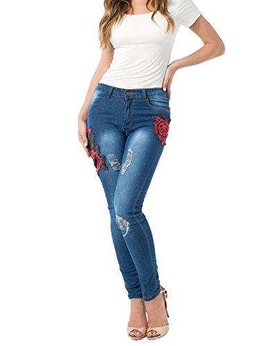 Donna Casuale Scarni Skinny Distrusse Pantaloni Fori Ricamato Elasticità Denim Pantaloni dritti Jeans Leggings Blu
