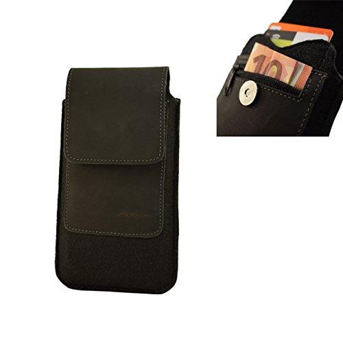 OrLine Handytasche kompatibel mit Alcatel Idol 3C mit Silikon Case. Gürteltasche mit Magnetverschluß und EC-Kartenfach aus Echtleder mit Filz. Schutz-hülle Handy-hülle Schwarz Etui