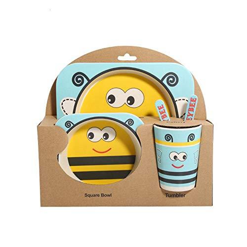 5 Teile/satz Tier Bambusfaser Kinder Geschirr Set Baby Geschirr Teller Schüsseln Schüssel Mit Löffel Geschirr Fütterung Set Lebensmittel Container-biene