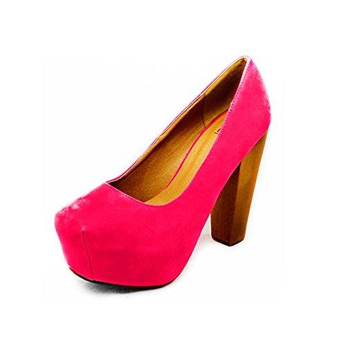 dames faux suède orteil carré cour bloc de chaussures à talons Rose