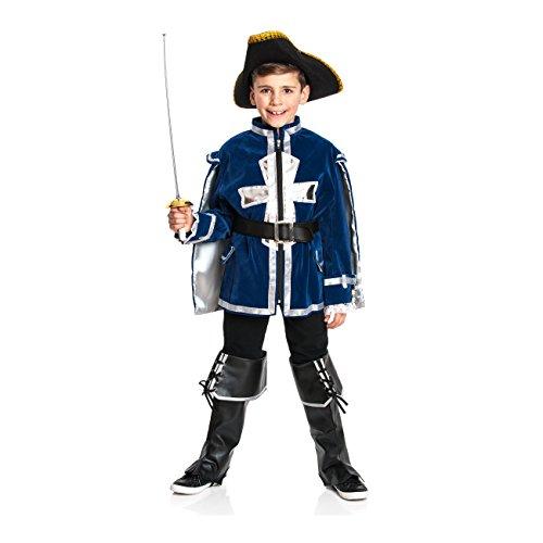 Kostümplanet Musketier-Kostüm für Kinder inklusive Jacket, Gürtel und Stiefelstulpen, Größe: 140 Farbe: blau, Verkleidung Fasching-Kostüm