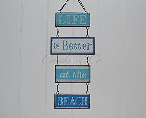 Life Is Better At The Beach Nautical Beach Metal Blue+ White Hanging Plaque Sign