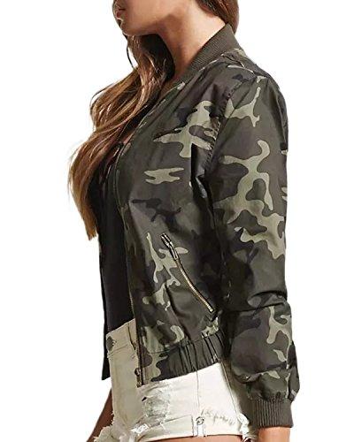 StyleDome Women's Sexy Bomber Jacket Camo Floral Print Biker Coat Zipper Cardigans Tops Shirts Outwear