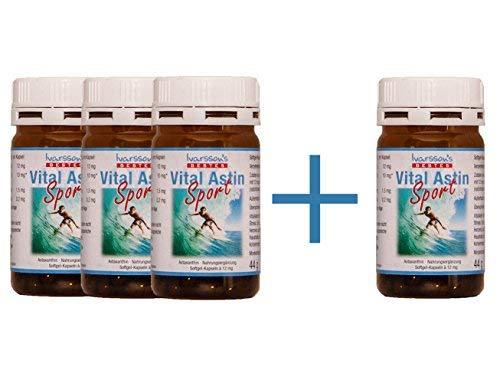 VitalAstin SPORT mit 12 mg natürlichem Astaxanthin - versandkostenfrei - 4 DOSEN (4 x 50 K.) - NEUE FORMEL = natürliches Astaxanthin plus Zink und Vitamin B1 - Das Original Ivarsson's VitalAstin - höher dosiert - mehr Effekt!