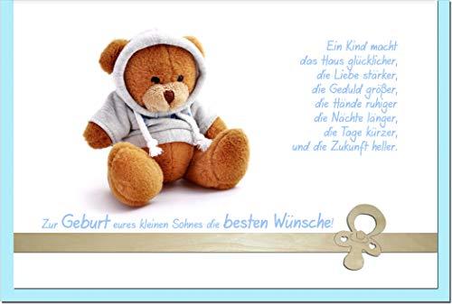 metALUm Karte zur Geburt eines Jungen TEDDYBÄR | 1205004S
