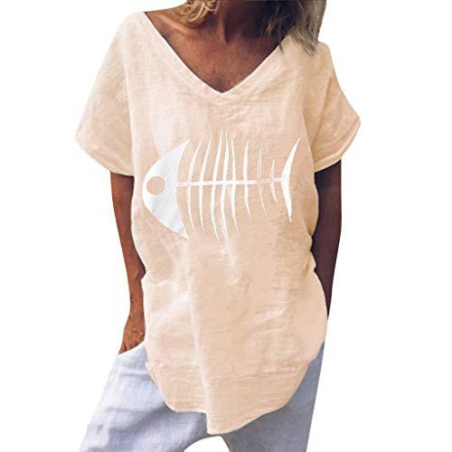 Damen Shirt Casual Lustige Fisch Knochen Print Tops Mode Sommer V-Ausschnitt Bluse Kurzarm Lose Tägliche Party Tunika Beige S -