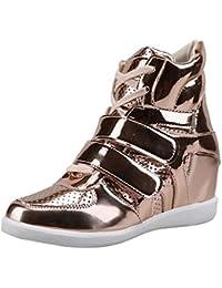 Longra ☂☂ ☂☂☀☀✔✔Zapatos de Punta Redonda para Mujer Cuñas Cruzadas Botas de Charol de tacón Alto Zapatos Deportivos