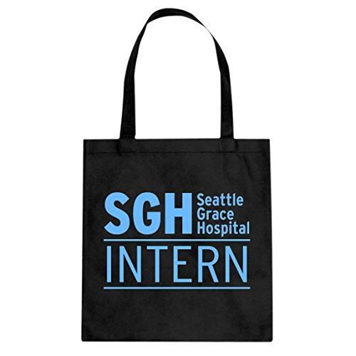 Indica Plateau intern Seattle Grace Hospital Canvas Tote Bag, Schwarz, 3312-B-BK-L (Bag Neue Canvas Tote)