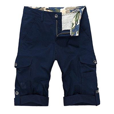 WDDGPZDK Strand Shorts/Cargo Shorts Men Sommer Muti-Pockets Lässige Shorts Mens Taktische Man Cargo Shorts Kurze Hose Ohne Gürtel, Royalblue, 36