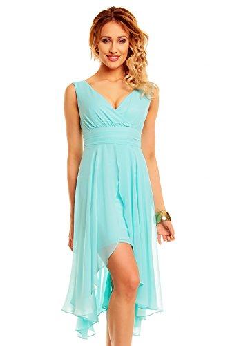 Vokuhila Abendkleid, Cocktailkleid, Kleid aus Chiffon aqua hellblau, L 38