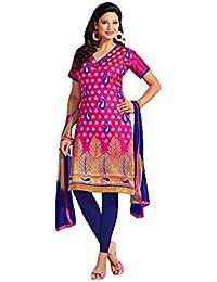 Terramart_ Salwar Set Material For Girls / Women - Chanderi Cotton ( Magenta & Navy Blue )