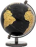 Brubaker - Globe terrestre - Design Moderne - Acier Inoxydable - Décoration Bureau - Hauteur 19 cm - Noir / dorée