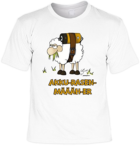 Fun T-Shirt mit witzigem Motiv: Akku-Rasen-Määäh-er - Schaf - Geschenk - by Gali - Farbe weiss Weiß