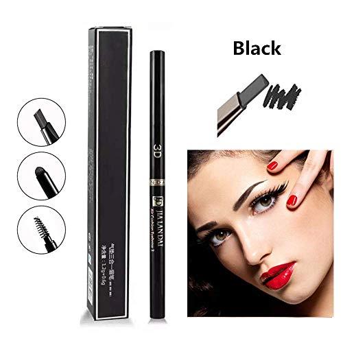 3-in-1-Augenbrauenstift, automatischer Augenbrauenstift mit zwei Köpfen, wasserdichtes und schweißfestes Make-up (Black)