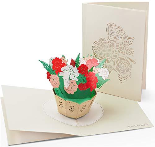 Dankes- & Glückwunschkarte mit extra Seite für Grüße - auch als Karte zu Ostern - einzige 3-seitige Klappkarte zur Gratulation & Danksagung - liebevolle 3D Pop-Up Osterkarte mit Blumen-Strauß