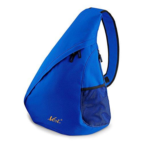 Bag Crossbody Hipster Messenger (Moderner Messenger Dreieck-Rucksack, Umhängetasche, Body Bag, Crossover Sling Bag Farbe: Royal-Blau - Mit Veri ® Logo)