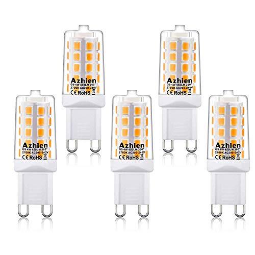 Lampade LED G9 LED 4W, Azhien Lampade LED Bianche Calde da 2700K, AC 200-240V, Senza Flicker, Senza Luce, Luminoso, Angolo di 360 Gradi, 450Lm, CRI> 82, Lampadina a LED G9, Confezione da 5