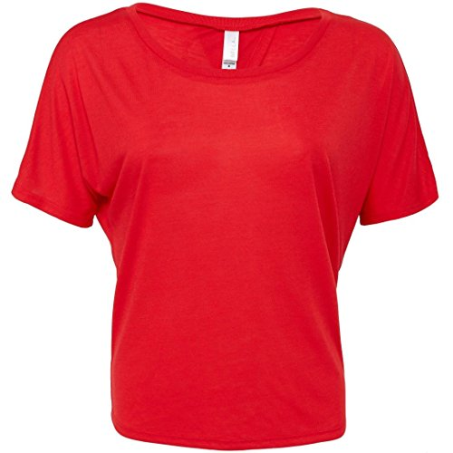 Bella + Canvas Bauch öffnen Back T-Shirt Rot - Rot