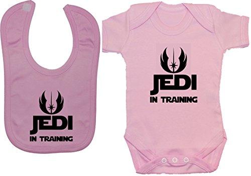 Jedi en Entrenamiento Bodysuit / Romper & Feeding Babero - 6 - 12 Meses - Rosa