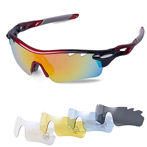 Gafas Ciclismo Polarizadas con 5 Lentes Intercambiables Gafas de Sol  Deportivas Antivaho Antireflejo Anti Viento y 036456a741ba