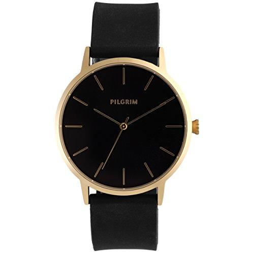 Pilgrim Damen Armbanduhr, Analog, Quartz, gold + schwarz Silikon Aurelia 701732130