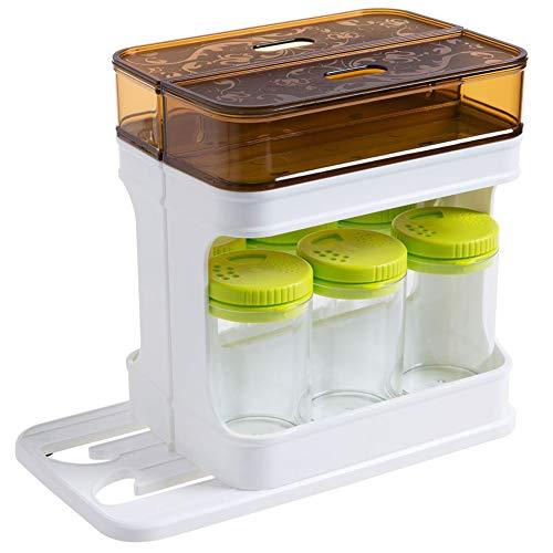 XOSHX Rotierende Gewürzdose Küche Gewürzdose Set Haushalt Transparent Gewürzflasche Gewürzdose Gewürzdose Dunkelbraun -