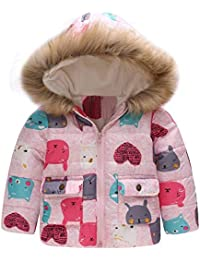 Baby Boy Girl Windproof Hooded Jacket Cartoon Rainbow Printed Zip Up Coat Cloak Thick Warm Winter Clothing 2-6 Years Old Kids…