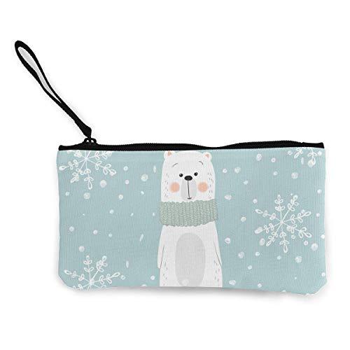 TTmom Damen Leinwand Geldbörse Portemonnaie Geldbeutel, Mint Cute Winter Snowflake Logo Zipper Canvas Coin Purse Wallet, Make Up Bag, Cellphone Bag with Handle -
