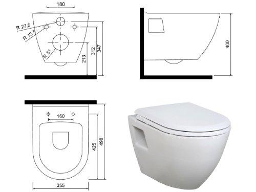 EXTRA KURZ Hänge Dusch Wc Taharet Bidet Taharat Intimdusche TP325 inkl. Soft-Close Deckel