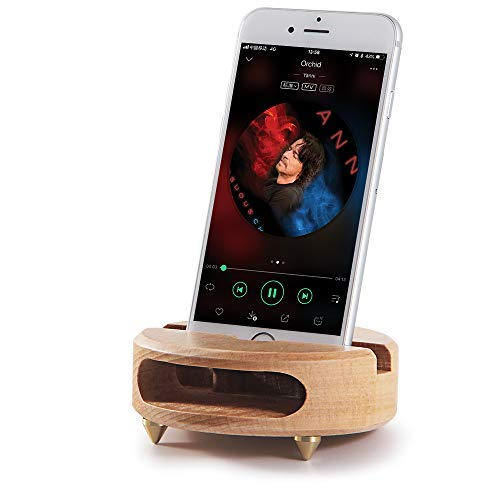 Mate2GO Wood Phone Stand, Acoustic Sound Amplifier Phone Dock Station Speaker Tablet Cradle Handmade Wooden Phone Holder as Gift compatible with iPhone, Samsung, LG,Kindle,Tablets - White Beech