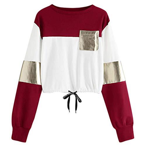 timeless design 478b9 d90db EUZeo Mode Femmes Sweat-Shirt Décontractée O-Cou Manche Longue Bandage  Patchwork Poche Chemisier