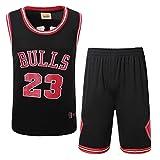 Herren NBA Trikot Michael Jordan # 23 Chicago Bulls Fan Basketball Uniform Set, Bequemes Leichtes/Atmungsaktives Mesh Retro Sport Top/Short,Black,XL