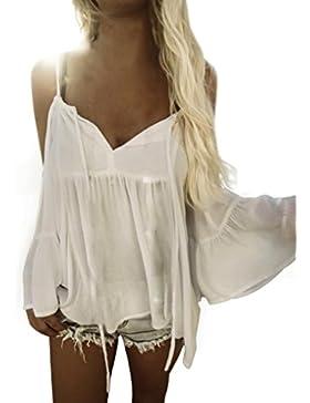 Mujer Camiseta,❤️Ba Zha Hei Mujer Atractivas Del Blanco De La Gasa Floja Sin hombros Con Vendaje Cuello Chaleco...