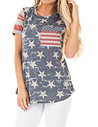Nlife Womens Round Neck Short Sleeve Flag Printing Contrast Color Casual Regular Fit Tops T Shirt