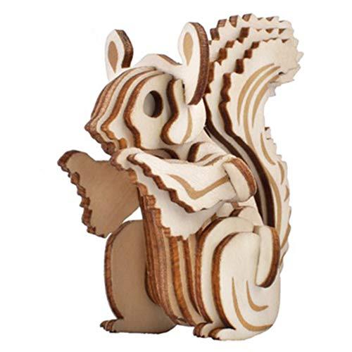 LINGNA 3D Holz Puzzle laserschneiden kleine eichhörnchen Tier Modell Stereo Kind Erwachsene DIY Intelligenz entwicklung spaß Montage Spiel (Eichhörnchen-montage-kit)