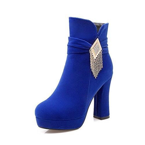 AgooLar Damen Mattglasbirne Rund Schließen Zehe Rein Reißverschluss Stiefel, Rot, 38