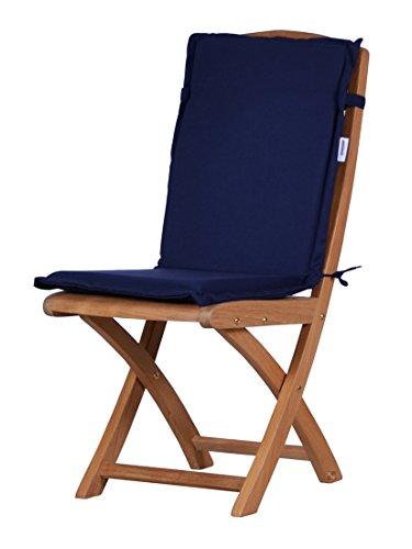 4 x Dunkelblaue Sitzauflage für Garten-Stühle & Klappstühle, 88 x 40 cm  Premium Polster-Auflage...