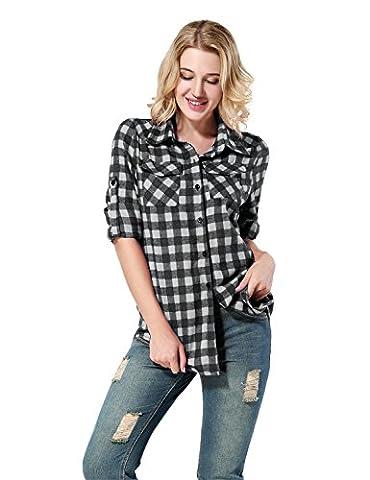Yidarton Femme Chemise à Carreaux Manches Longues Shirt Blouse Boutonnière Revers Tops Automne (XL, Noir Blanc)