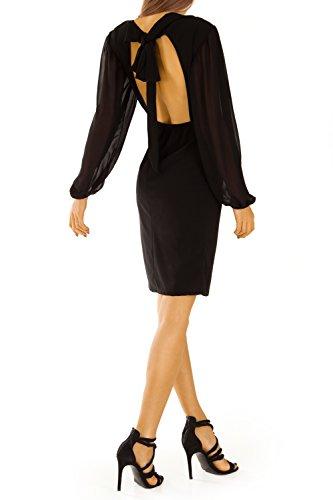 Damen Kleider, Abendkleid, Cocktailkleid rückenfrei k30pne Schwarz