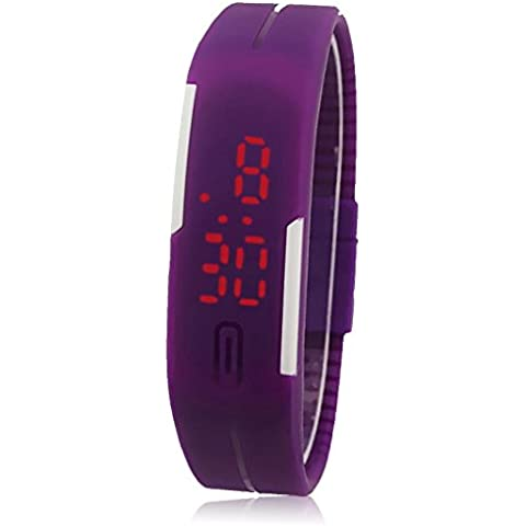 Fortan Nuovo ultra sottile Uomini Ragazze sport il LED Digital del silicone di sport orologio da polso (viola)