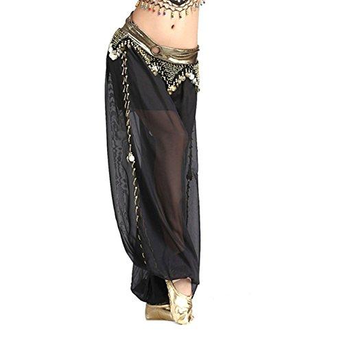Kostüme Maskottchen Design (Damen Bauchtanz Hose Chiffon Glitzer Rock Mit Seitenöffnungsmünzen Tanzen)