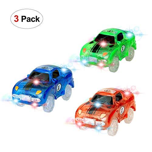 Spielzeug Auto,MIGE Spielzeug Auto Spur Led Licht Auto Im Dunkeln Leuchten Zubehör Kompatibel mit den Meisten Auto Rennen Twister Tracks,Magic Car Ideal Für Childs Geschenke(Packung von 3) (Disney Kostüm Pack)