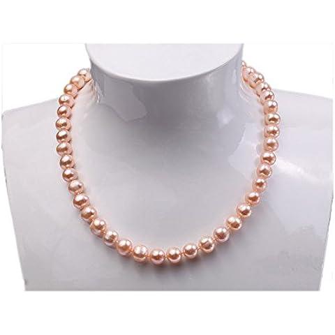 Pretty single-strand 9–10mm collana di perle d'