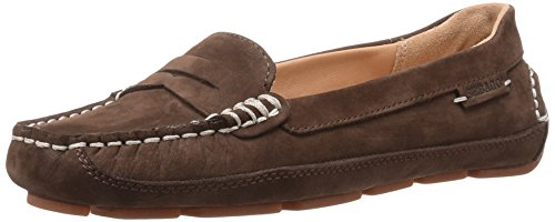 Sebago Womens Kedge Penny Flat Dark Brown Nubuck