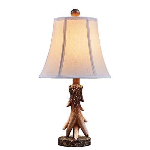 LJTD - American Land Tischlampe Nachttisch Lampen Schlafzimmer Wohnzimmer Hochzeit Zimmer Hochzeit warm kreative Retro-Geweih Tischlampe - Schlafzimmer-land-nachttisch